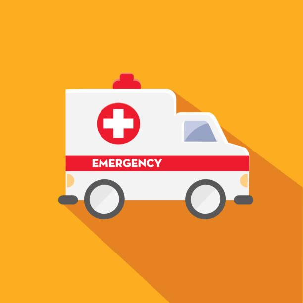 Medical Ambulance Flat Design themed Icon Set with shadow vector art illustration
