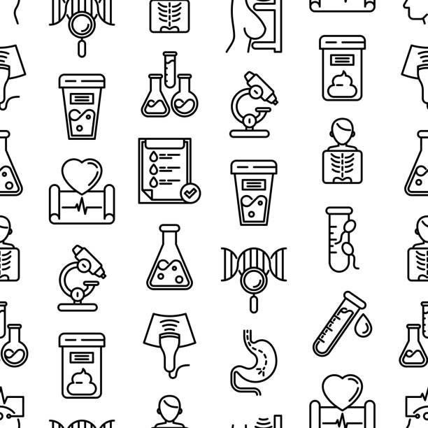 bildbanksillustrationer, clip art samt tecknat material och ikoner med medicinska analyser sömlösa mönster med tunna linjer ikoner: blodprov, urinprov, pall, ekg, mammografi, spermier, dna, ultraljud, eeg, röntgen, gastroskopi. vektor illustration för laboratorie webbsida. - test tube