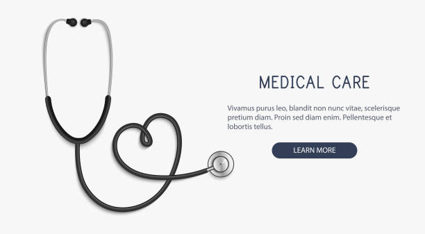 Medical and Health care concept, stethoscope heart shape.Vector Medical and Health care concept, stethoscope heart shape.Vector illustration. stethoscope stock illustrations