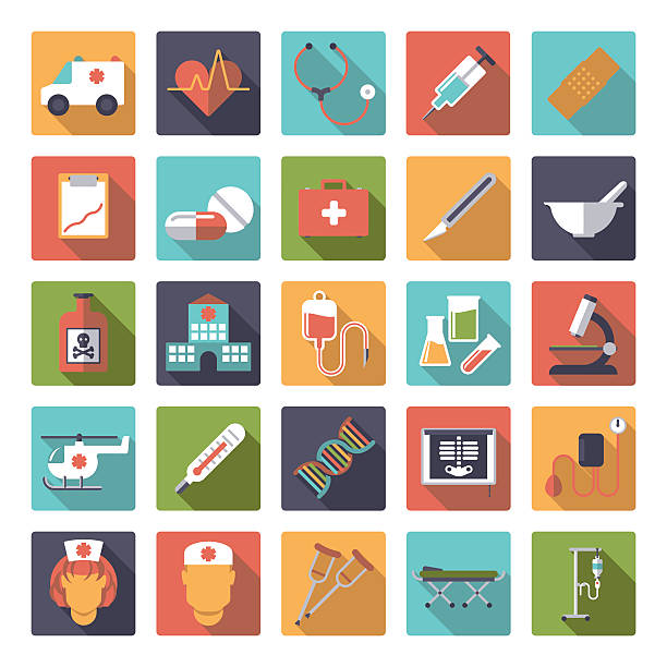 Medical and Health Care Flat Design Vector Icons Collection Set of 25 medical and healthcare related icons in rounded squares, flat design, long shadow male nurse stock illustrations