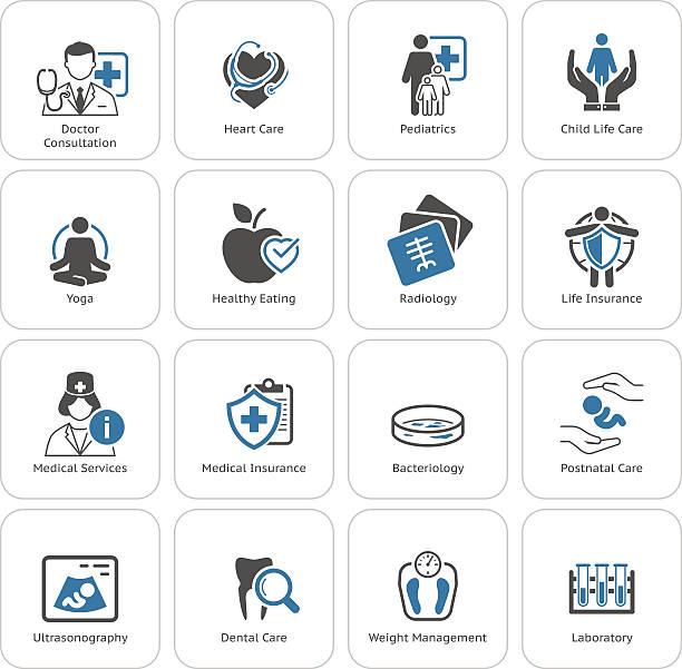 ilustrações, clipart, desenhos animados e ícones de médica e os cuidados de saúde ícones definido. design 2d. - pediatra