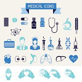 Medical and health care icons set.