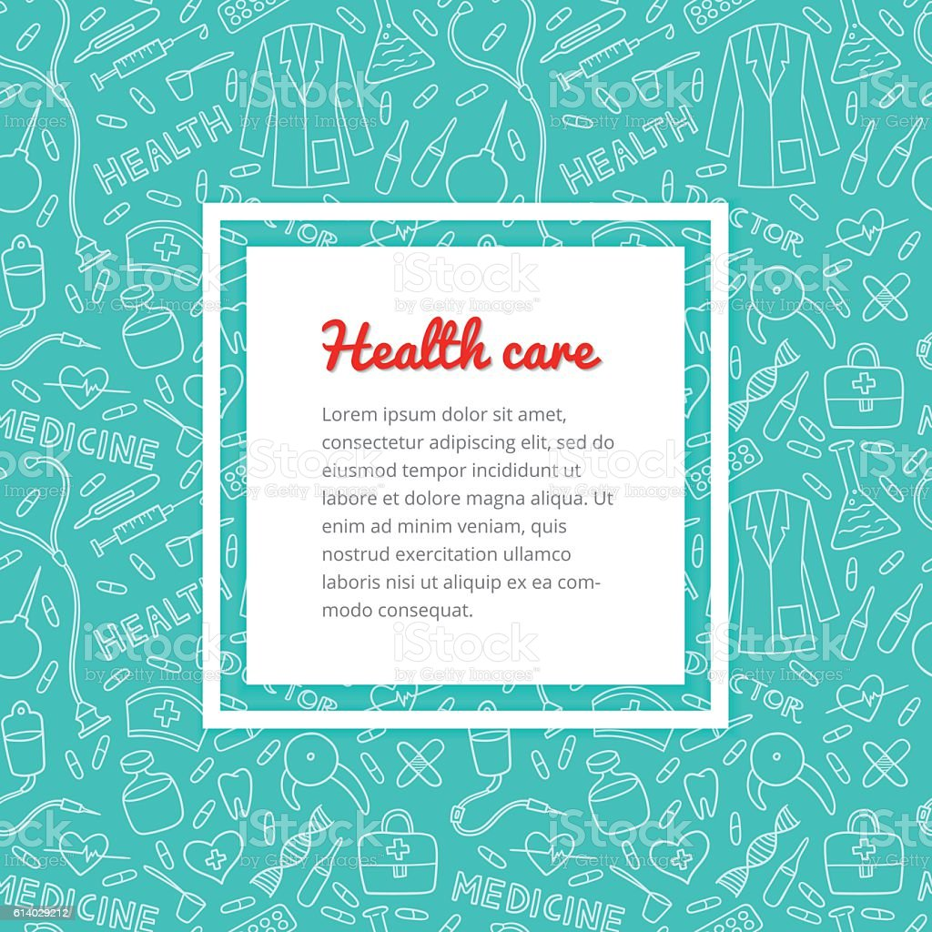 Medical and health care pattern vector art illustration