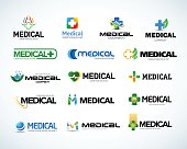 Medical and health emblem design templates set.  Isolated Vector illustration