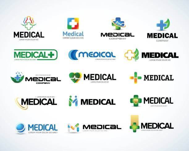 Medical and health emblem design templates set.  Isolated Vector illustration vector art illustration