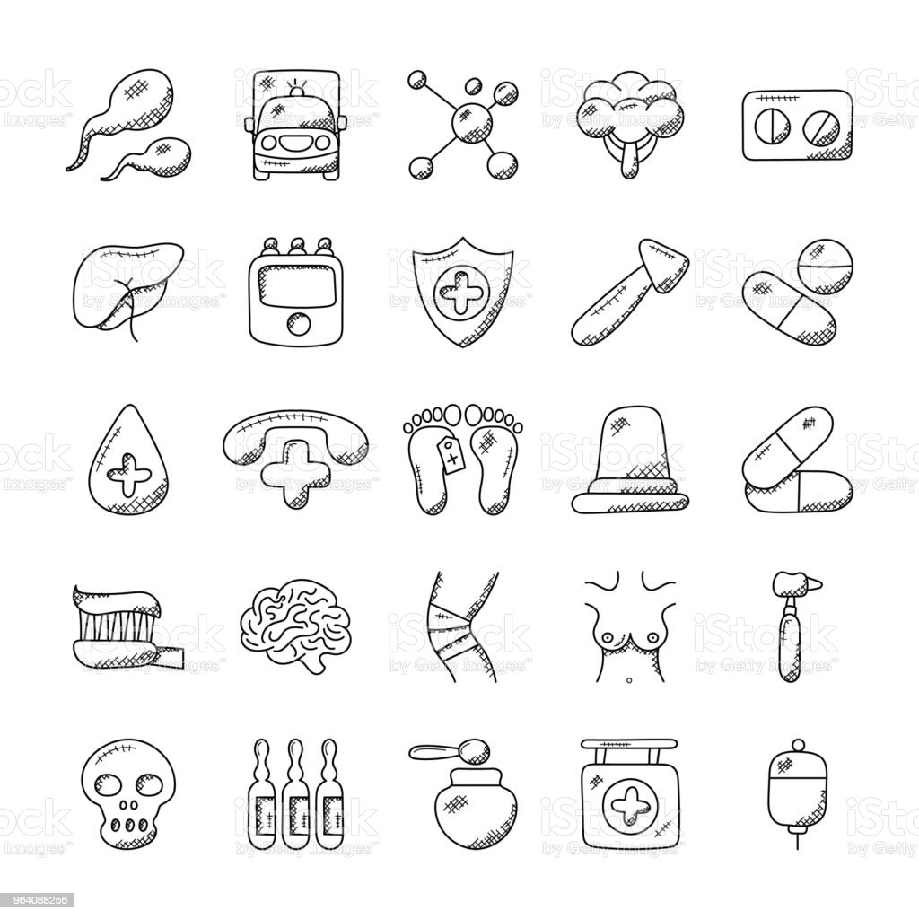 Medical and Health Flat Icons Set - Royalty-free Ambulance stock vector