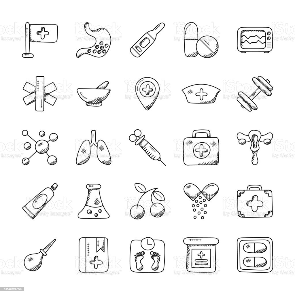 Medical and Health Flat Icons - Royalty-free Bathroom Scale stock illustration