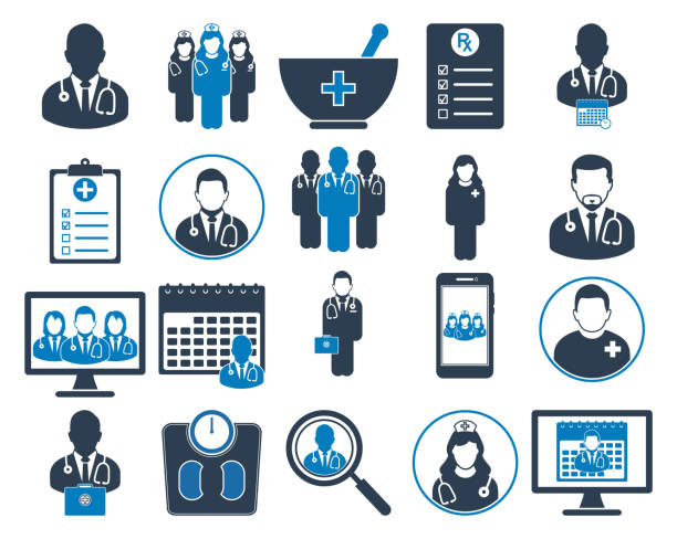 의료 및 건강 아이콘 세트입니다. 평면 스타일 벡터 eps. - doctor stock illustrations