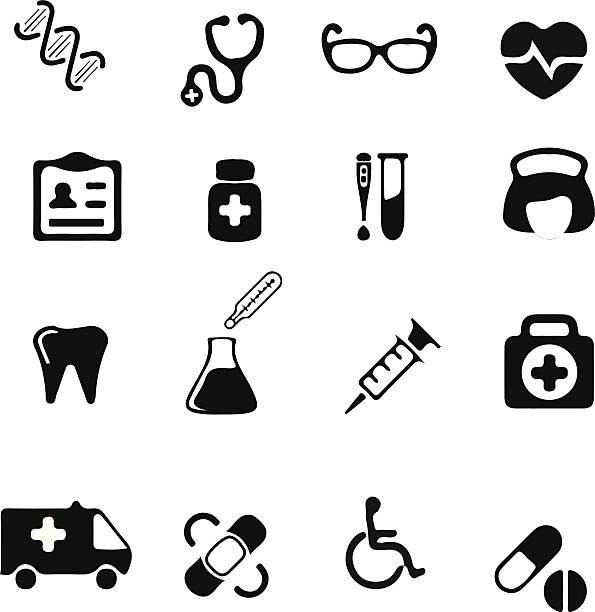 stockillustraties, clipart, cartoons en iconen met medical and health icons set - naald chirurgisch instrument