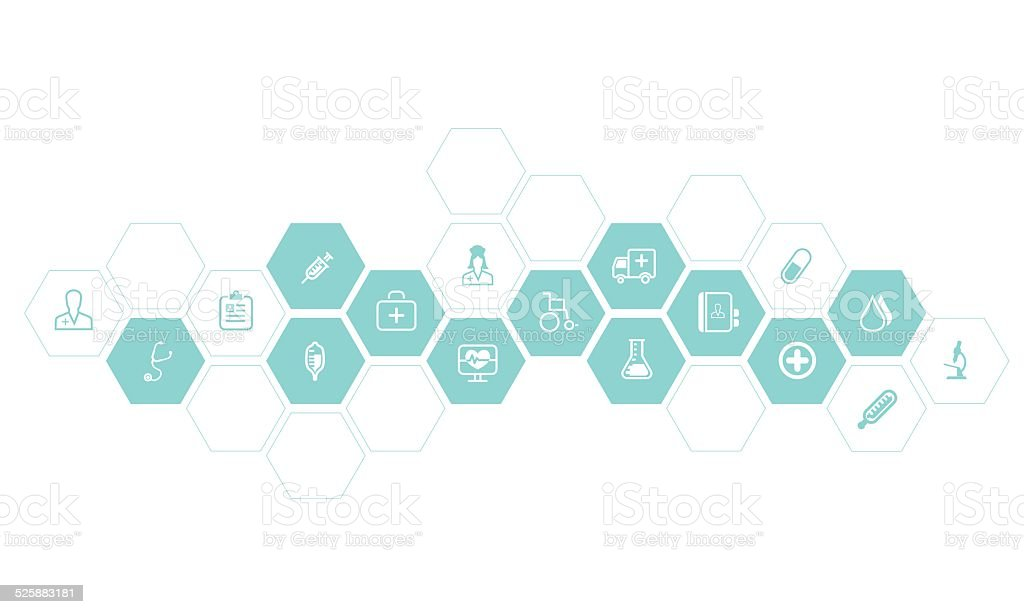 Medical and health icons vector background vector art illustration