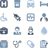 Illustration of medical and health icons on the white.