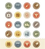 Medical and Health Icons : Vintage Badge Series