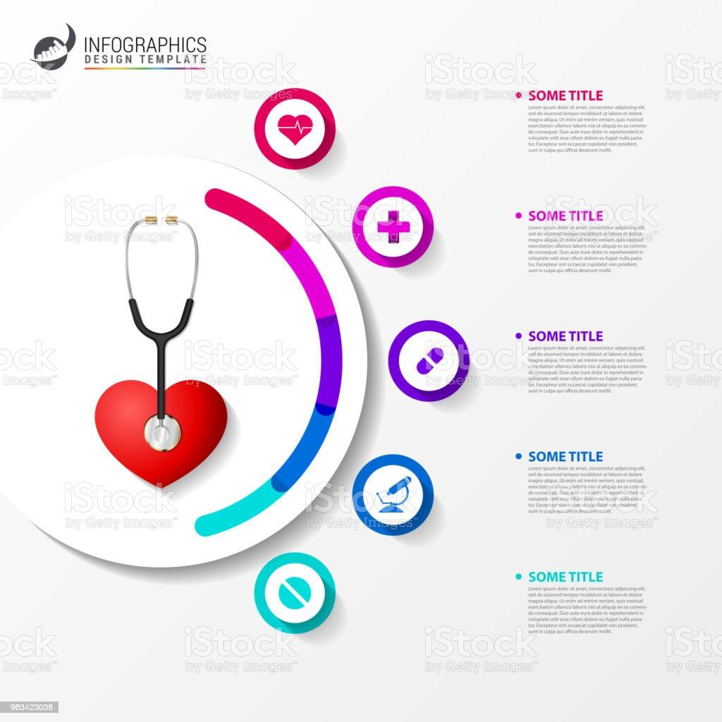 Médicaux et de santé. Modèle de conception infographique avec stéthoscope - clipart vectoriel de Abstrait libre de droits