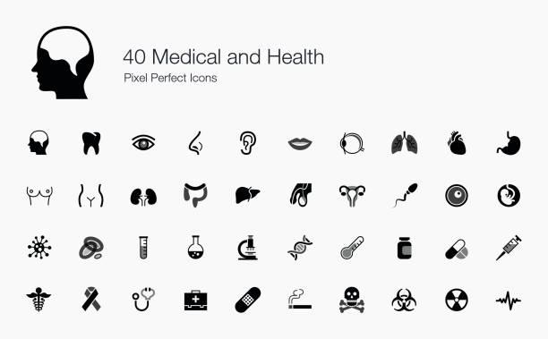 40 medizin und gesundheit-pixel perfect icons - eizelle stock-grafiken, -clipart, -cartoons und -symbole