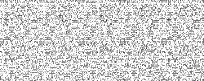 Medical and Health Seamless Pattern and Background with Line Icons