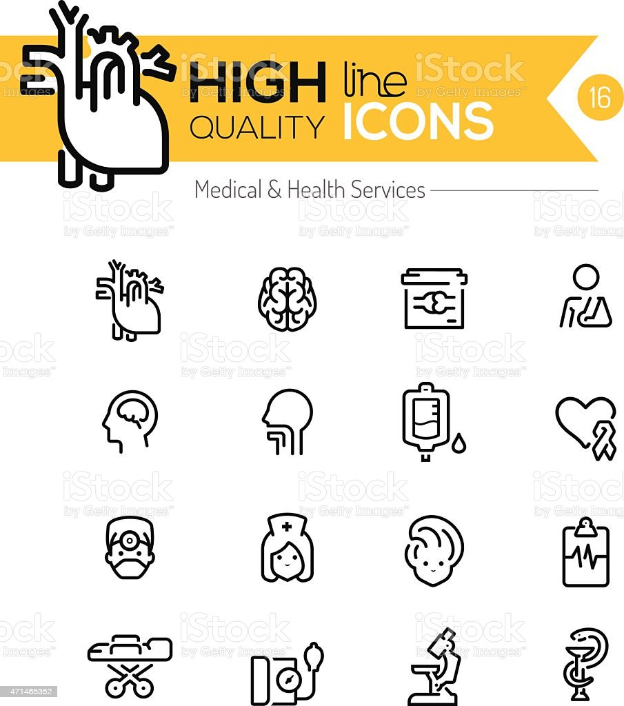 Medical and Health Services line icons series vector art illustration