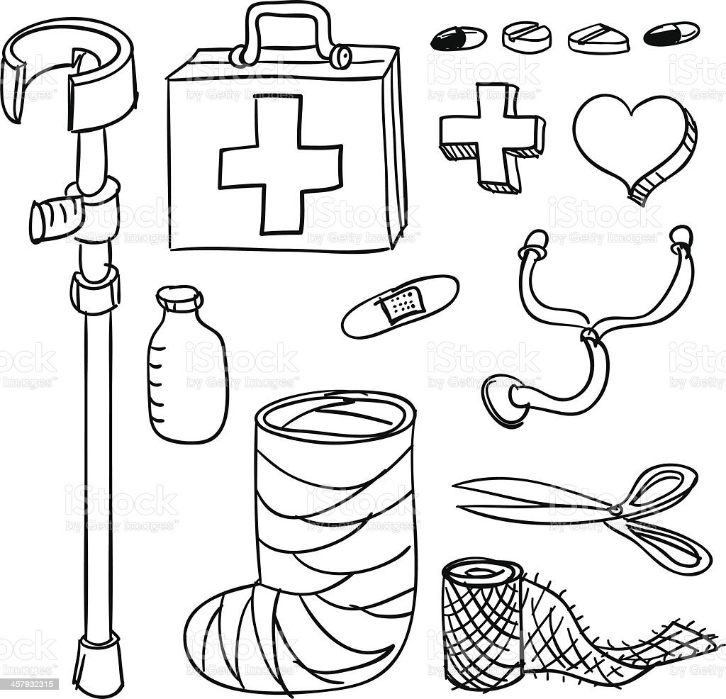 Medical and healthcare collection in mono tone vector art illustration