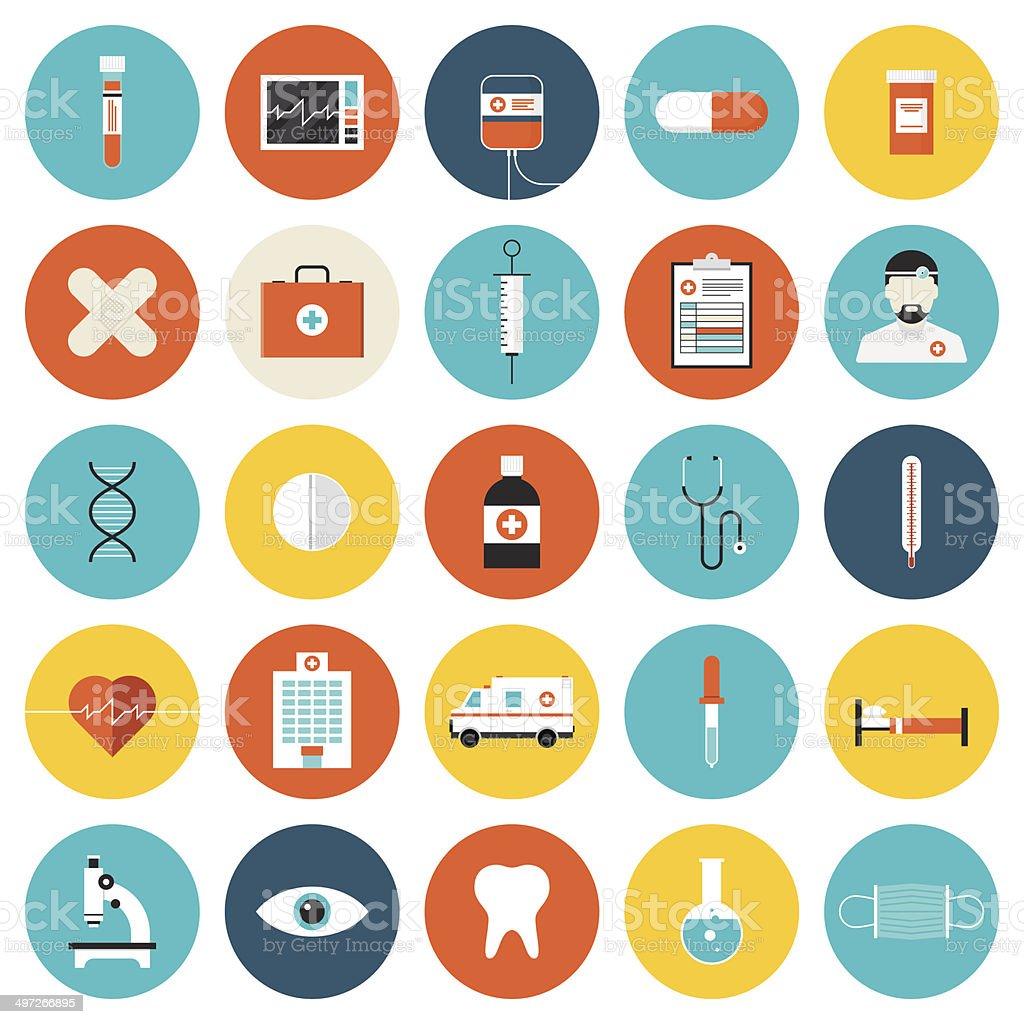 Saúde e cuidados de saúde plana, conjunto de ícones - ilustração de arte em vetor