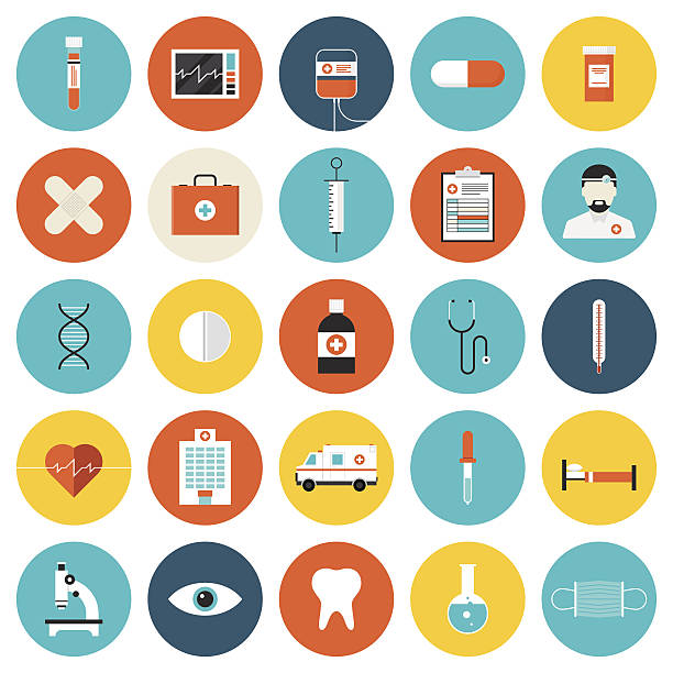 medical and healthcare flat icons set - medical equipment stock illustrations, clip art, cartoons, & icons