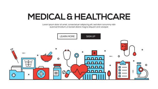 ilustraciones, imágenes clip art, dibujos animados e iconos de stock de diseño de banner web línea plana médica y profesional de la salud - infografías de medicina