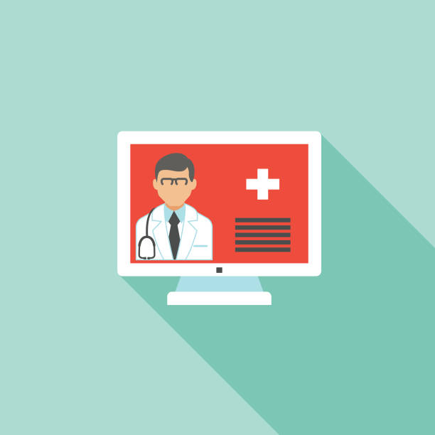 ilustraciones, imágenes clip art, dibujos animados e iconos de stock de icono médico y sanitario en estilo de diseño plano-telemedicina - telehealth