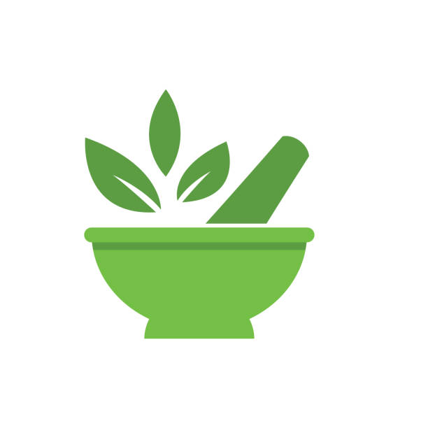 medical and healthcare icon in flat design style - naturopathy stock illustrations, clip art, cartoons, & icons