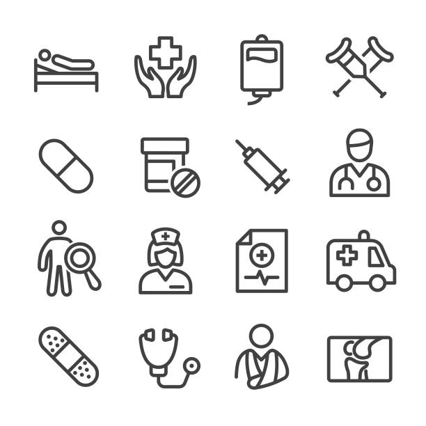 tıbbi ve sağlık icon - line serisi - first responders stock illustrations