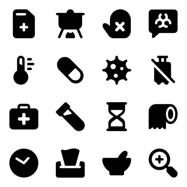 medical and healthcare icons in modern solid style pack - covid testing stock illustrations