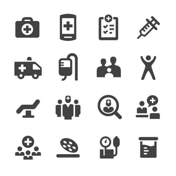 medical and healthcare icons set - acme series - first aid stock illustrations