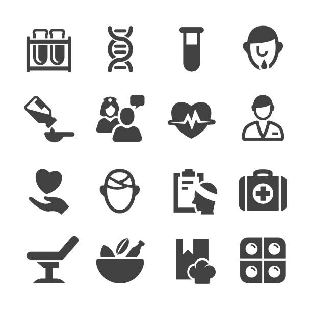 medical and healthcare icons set - acme series - naturopathy stock illustrations, clip art, cartoons, & icons