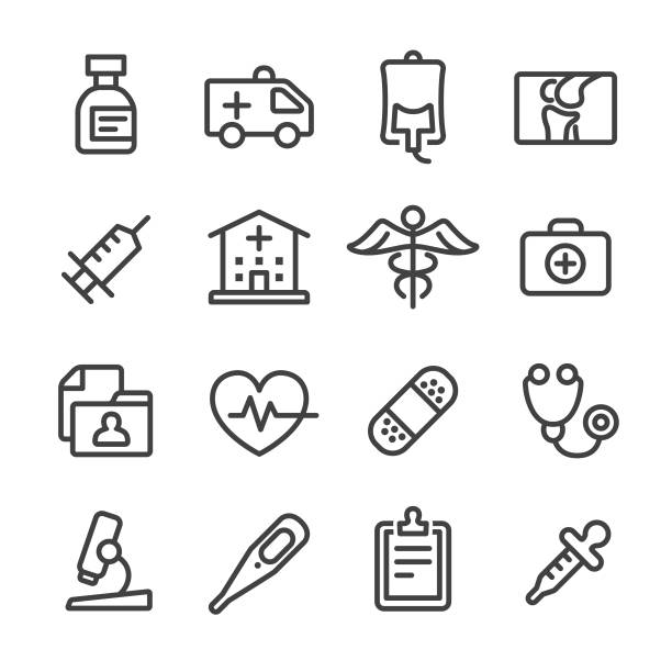 Medical and Healthcare Icons Set - Line Series Medical, Healthcare, medical exam, medical symbol radiology stock illustrations