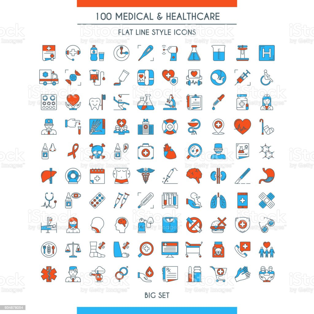 Medical and healthcare icons set vector art illustration