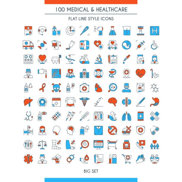 medical and healthcare icons set - nurse stock illustrations, clip art, cartoons, & icons