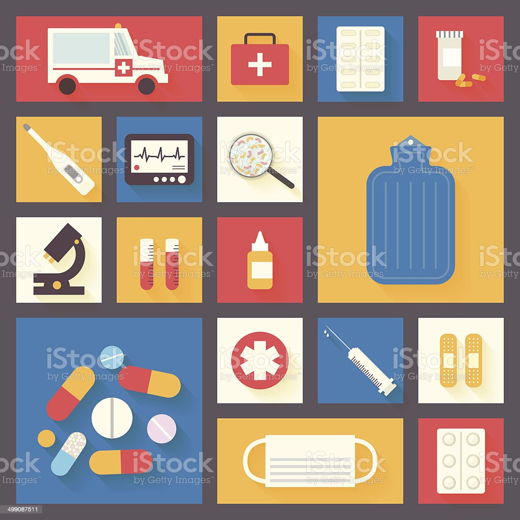 Medical and healthcare icons set. Vector vector art illustration