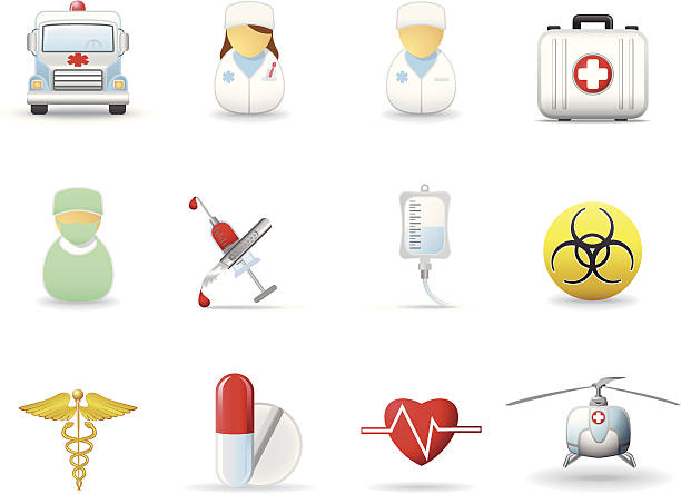Medical and health-care icons Medical and health-care icons. Part 2 male nurse stock illustrations