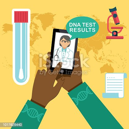Flat Design Healthcare Infographic with flat design icons. Using a mobile app to view DNA results.
