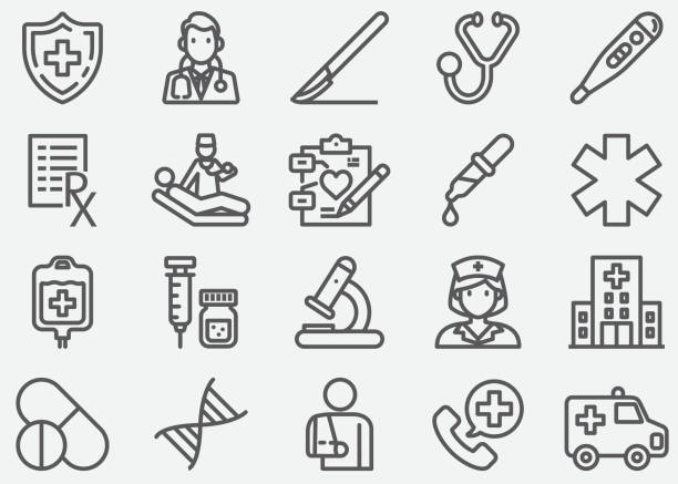 Medical and Healthcare Line Icons Medical and Healthcare Line Icons cancer illness stock illustrations