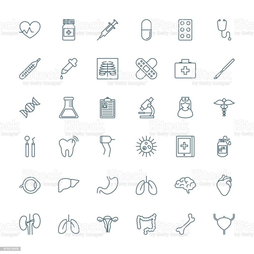 Medical and healthcare outline style vector icons set vector art illustration