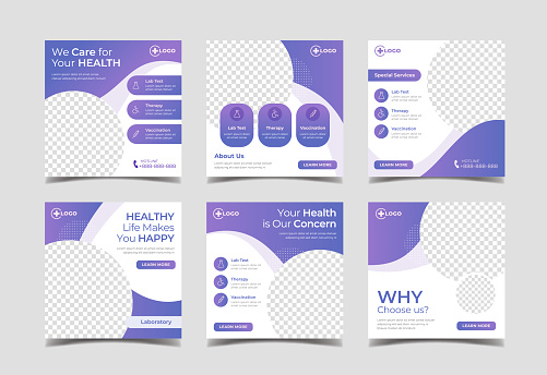 Medical and healthcare square banner for social media post template