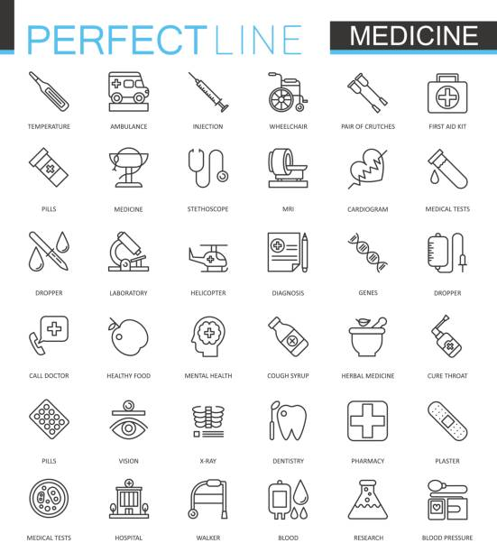 Medical and healthcare thin line web icons set. Outline stroke icon design. vector art illustration