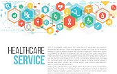 Medical and healthcare copy space . There are many different Medical related icons on the polygonal composition.