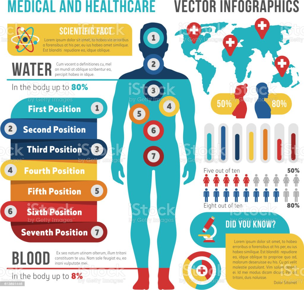 Medical and healthcare vector infographics with human body vector art illustration