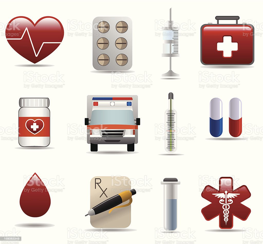 Medical and hospital icons set royalty-free stock vector art