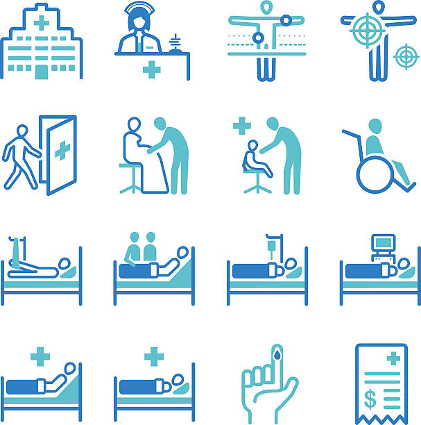 Medical and hospital icons Medical and hospital icons hospital bed stock illustrations