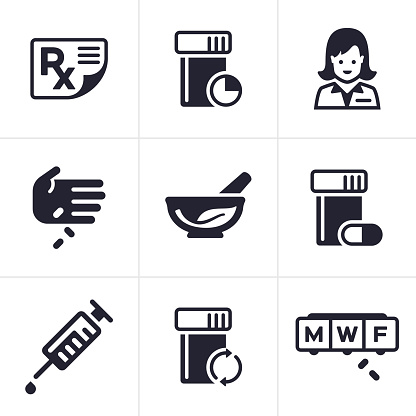 Medical and pharmacy symbol and icon collection.