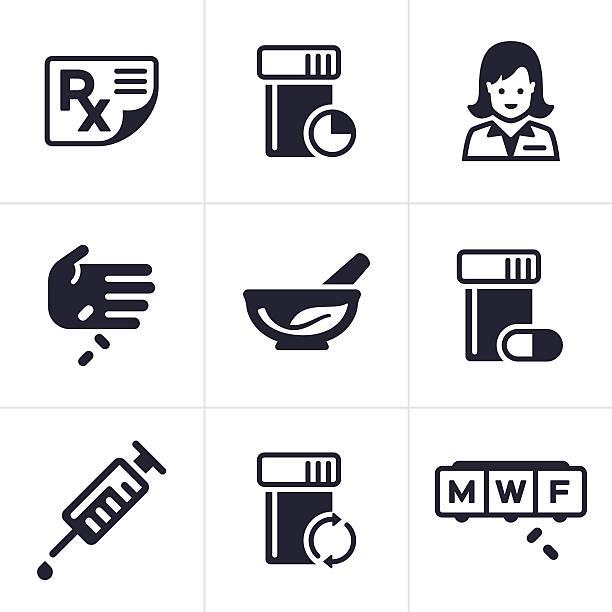 illustrazioni stock, clip art, cartoni animati e icone di tendenza di medico e farmacia icone e simboli - farmacia