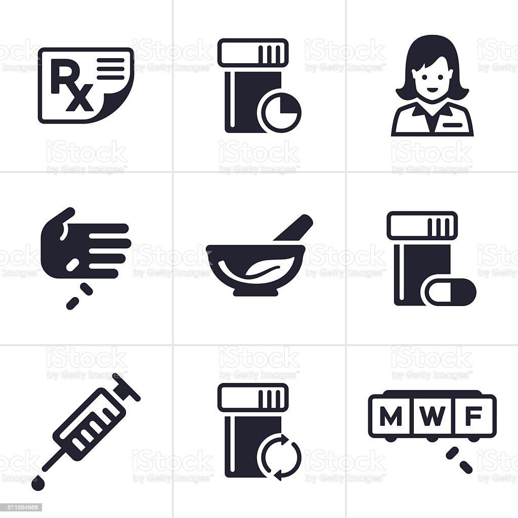 Médica y farmacia iconos y símbolos - ilustración de arte vectorial