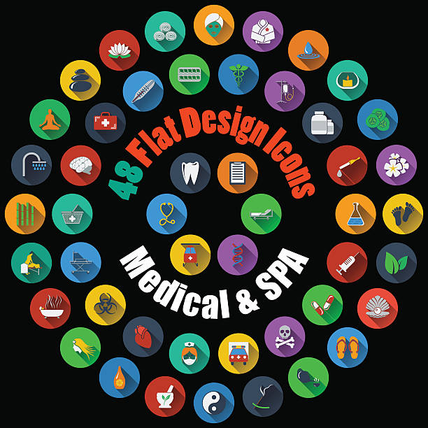 Medical and SPA Icons vector art illustration