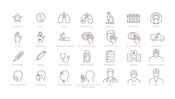 ilustraciones, imágenes clip art, dibujos animados e iconos de stock de iconos médicos y de virus - covid 19 vaccine
