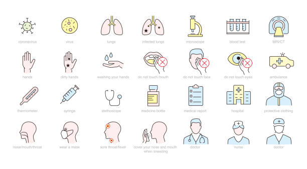 Medical and virus icons Medical and virus icons sudden acute respiratory syndrome stock illustrations